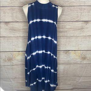 Ginger G Sleeveless Midi Blue White Dress